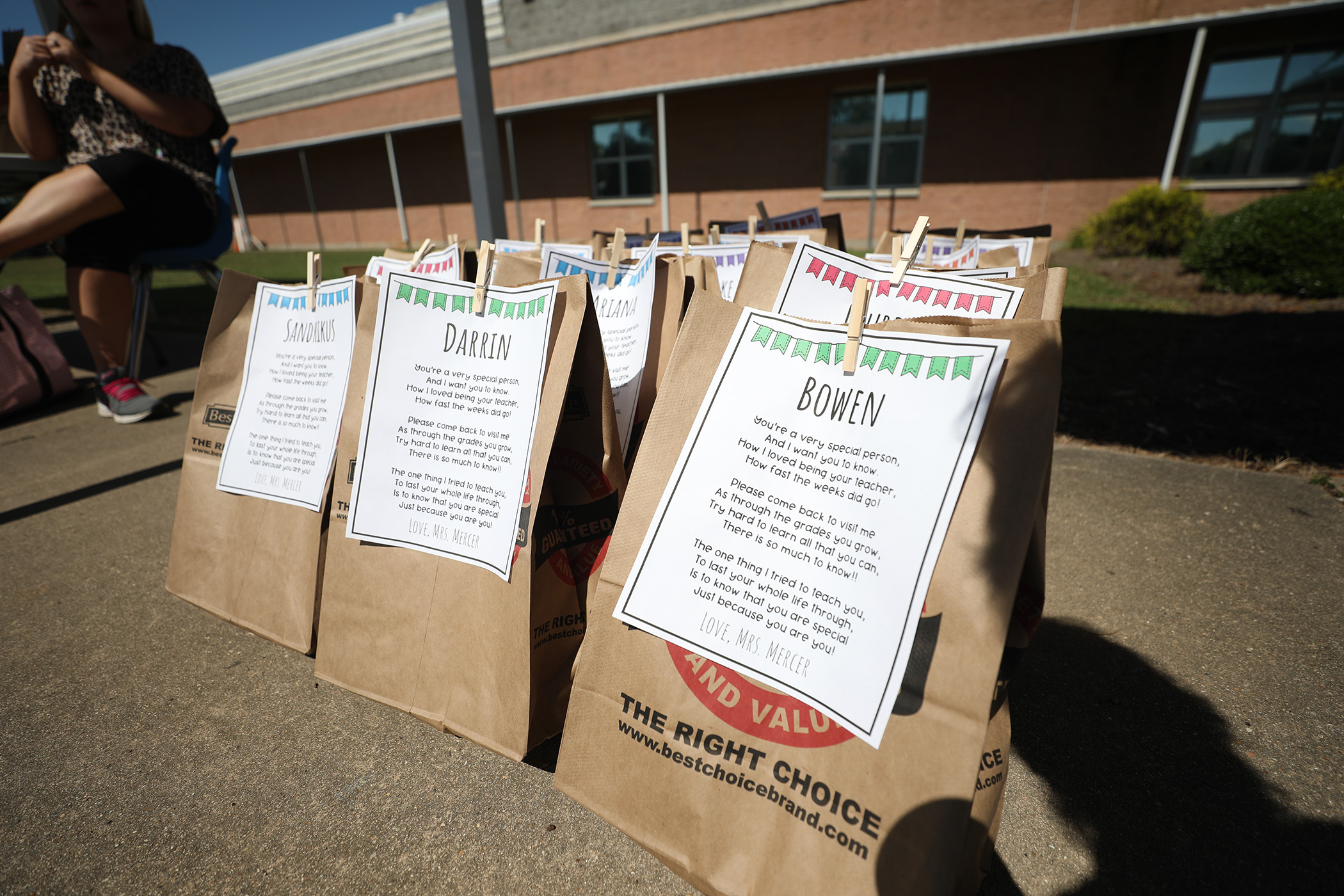 This is a photo of bags Mrs. Mercer created to give to her students.