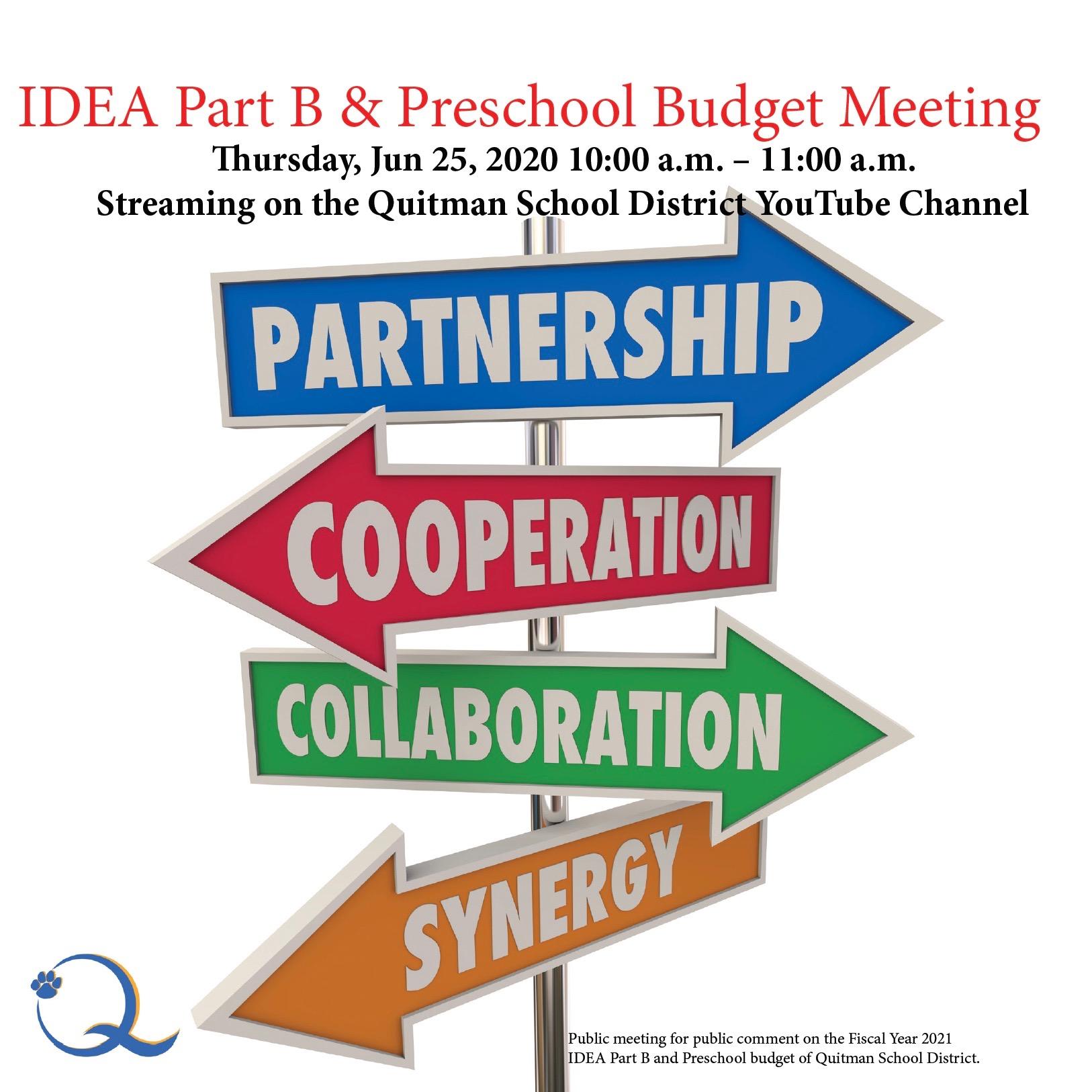 This is a screenshot describing the IDEA Part B Preschool Budget Meeting.