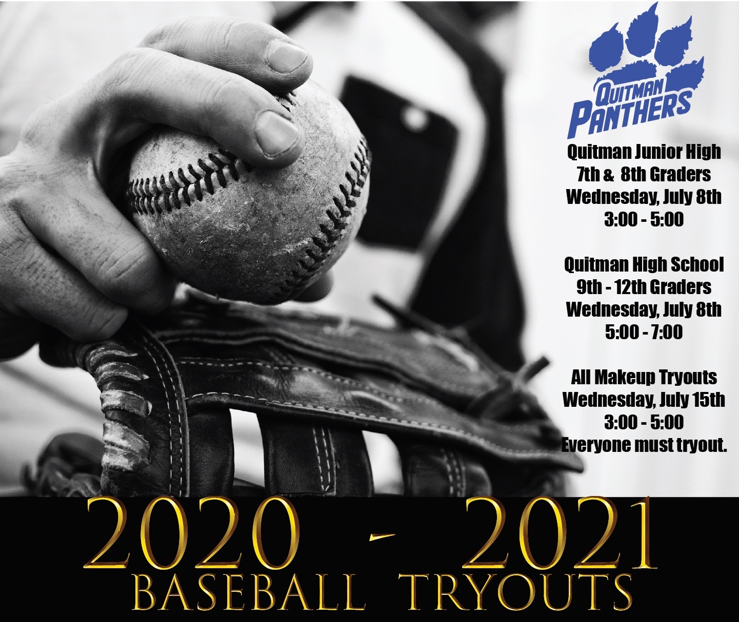This is a screenshot of a graphic about baseball tryouts.