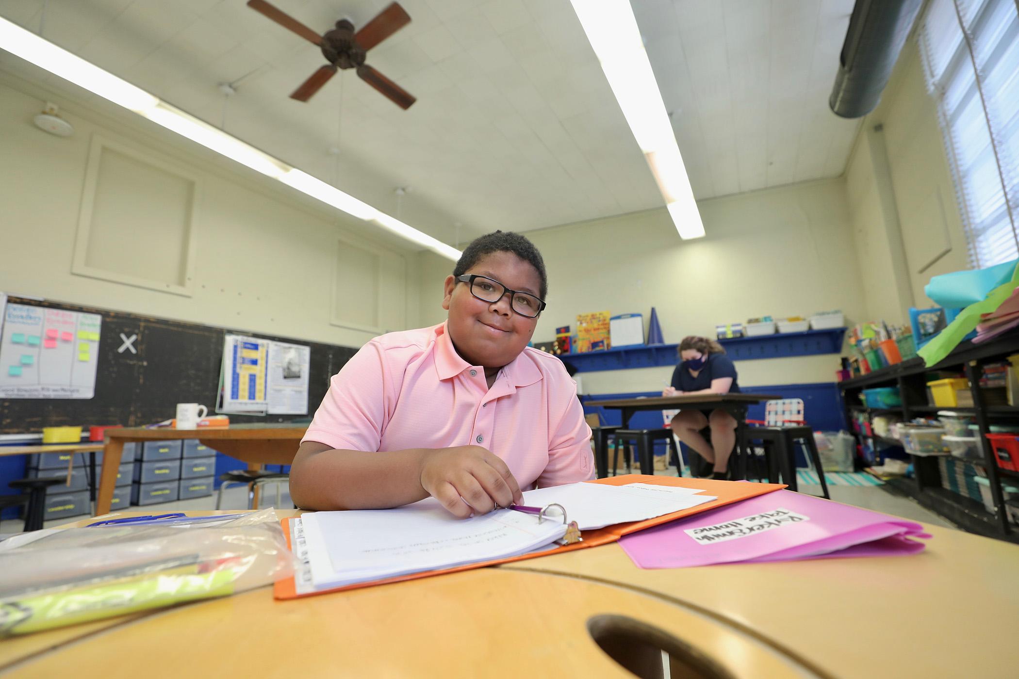 A student attends summer school.