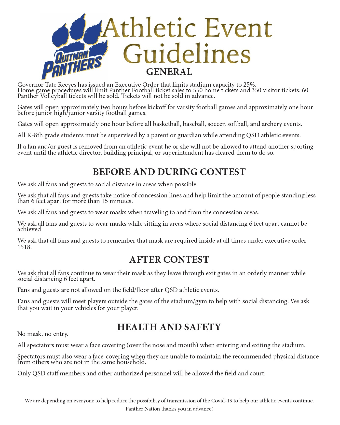 This is a screenshot of the Panther Athletic Event Guidelines.