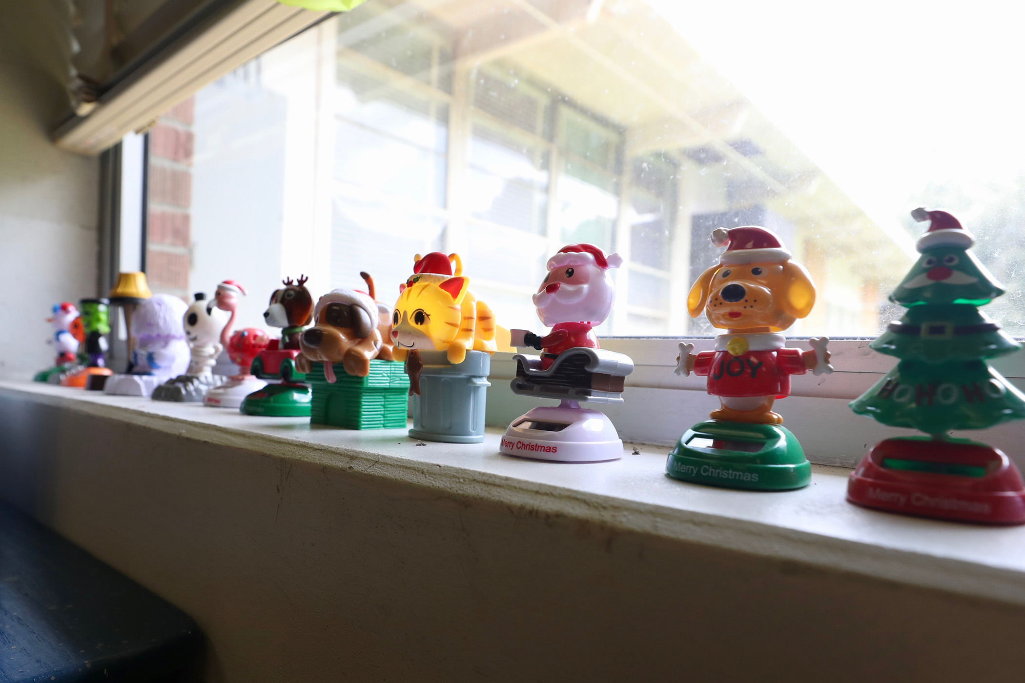 This is a series of bobbleheads in a classroom at QJH.