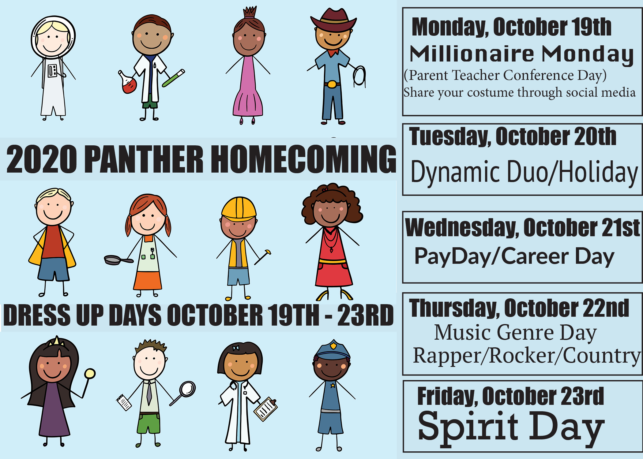 This is a flyer about the dress up days of Homecoming Week.
