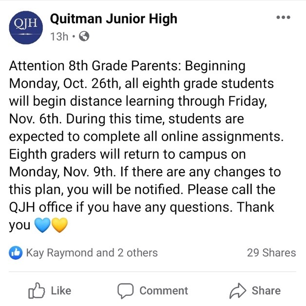 This is a screenshot of a notification from Quitman Junior High's facebook page.